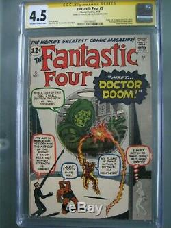Fantastic Four #5 CGC 4.5 SS Signed Stan Lee Origin & 1st Doctor Doom