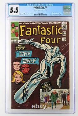 Fantastic Four #50 Marvel 1966 CGC 5.5 Silver Surfer SIGNED by Stan Lee