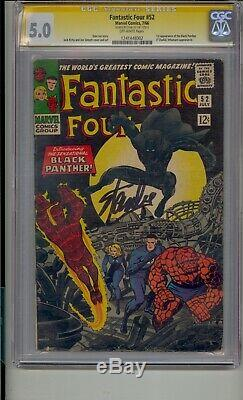 Fantastic Four #52 Cgc 5.0 Ss Signed Stan Lee 1st Black Panther Silver Age