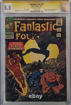 Fantastic Four #52 Cgc 5.5 Ss Signed Stan Lee 1st Black Panther Ow Pages