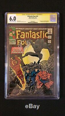 Fantastic Four #52 Cgc 6.0 Ss Signed Stan Lee 1st Black Panther