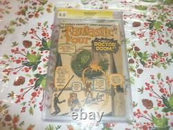 Fantastic four 5 cgc 4.0 Signed by Stan Lee off white to white