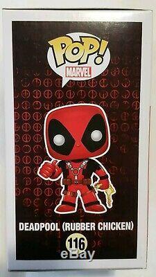 Funko POP! MARVEL Deadpool #116 withChicken Signed Stan Lee COA Rare