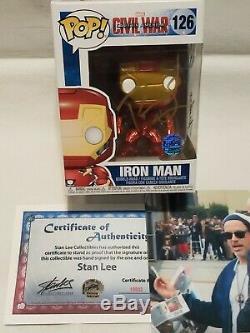 Funko Pop! Civil War Iron Man #126 SIGNED Stan Lee Robert Downey Jr. COA Rare