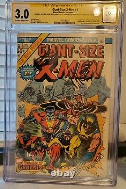 Giant Size X-MEN # 1 CGC SS with SKETCH Signed by Stan Lee, Len Wein, Herb Trimpe