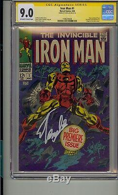 IRON MAN #1 CGC 9.0 SS SIGNED STAN LEE OWithWHITE PAGES BEAUTIFUL