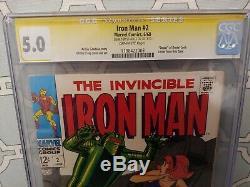 IRON MAN #2 CGC Signed Stan Lee Marvel Comics 1968