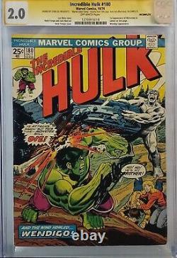 Incredible Hulk #180 Cgc 2.0 Ss Signed Stan Lee 1st Wolverine Looks 7.0 No Mvs