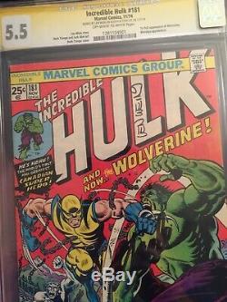 Incredible Hulk #181 CGC 5.5 SS x 2 1st Wolverine STAN LEE SIGNED & LEN WEIN