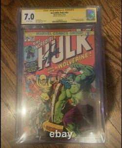 Incredible Hulk #181 Cgc 7.0 Ss Signed Stan Lee 1st Wolverine
