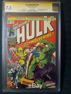 Incredible Hulk #181 Cgc 7.5 Ss Signed Stan Lee 1st Wolverine