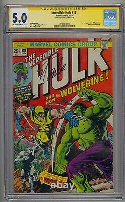 Incredible Hulk #181 Ss Cgc 5.0 1st Full Wolverine Wendingo App Signed Stan Lee