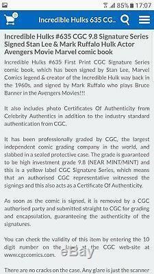 Incredible Hulks 635 CGC 9.8 signed by Stan Lee & Mark Ruffalo