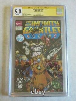 Infinity Gauntlet #1 CGC 5.0 Signed by Stan Lee White Pages