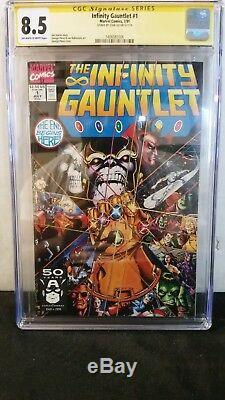 Infinity Gauntlet #1 Cgc 8.5 Ss Signed Stan Lee Avengers Movie Thanos