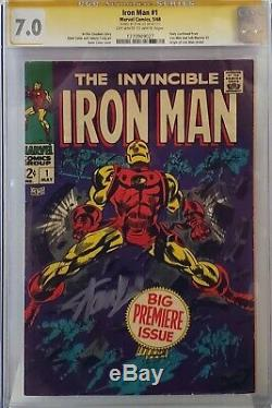 Iron Man #1 Cgc 7.0 Ss Signed Stan Lee