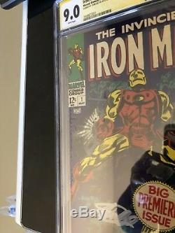Iron Man #1 Cgc 9.0 Ss Signed Stan Lee White Pages Beautiful