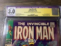 Iron Man #1 (Marvel, 1968) CGC SS 3.0 Signed by Stan Lee C-1 Restoration