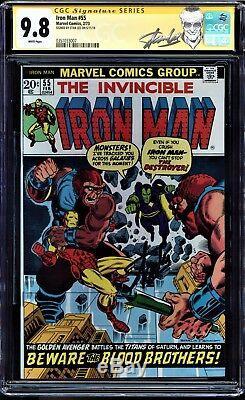 Iron Man #55 Cgc 9.8 White Ss Stan Lee Signed 1st App Of Thanos Cgc #0351033007