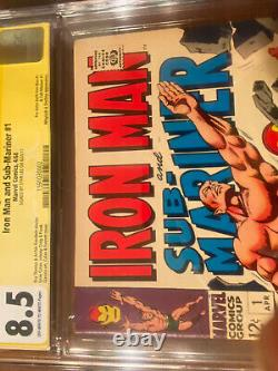 Iron Man And Sub-mariner #1 4/68 Cgc 8.5 Ss Stan Lee! Super Nice Signed Key