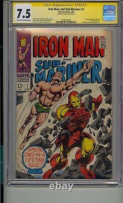 Iron Man And Sub-mariner #1 Cgc 7.5 Ss Signed Stan Lee