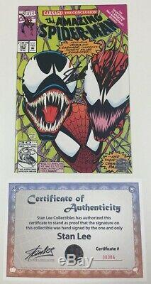 Marvel Amazing Spider-man #363 Signed Stan Lee withCOA 3rd Full Carnage Appearance