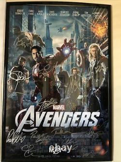 Marvel Avengers Autographed Poster 16 Cast Members RDJ, Stan Lee, Evans With Cert