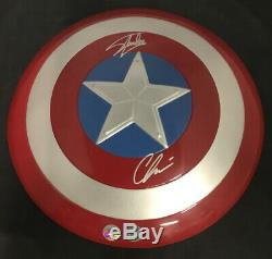 Marvel Captain America Shield Signed By Chris Evans & Stan Lee 12 Inch Shield