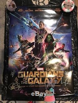 Marvel Guardians of the Galaxy Cast signed 2sided movie poster with Stan Lee & COA
