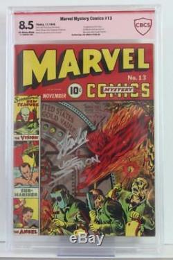 Marvel Mystery Comics #13 CBCS 8.5 VF+ Signed Simon & Stan Lee 1st Vision 1940