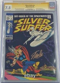 Marvel Silver Surfer #4 Signed Stan Lee CGC 7.5 SS 1969 Thor & Loki Appearance