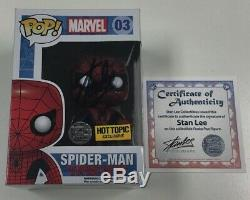 Marvel Spiderman Funko Pop #03 Hot Topic Exclusive Signed by Stan Lee withCOA