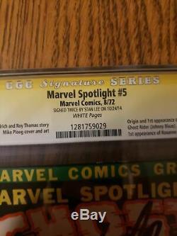 Marvel Spotlight 5 Cgc 5.0 Ss Signed Stan Lee X2 Twice 1st App Ghost Rider