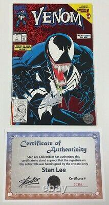 Marvel Venom Lethal Protector #1 Red Foil Cover Signed by Stan Lee withCOA 1993