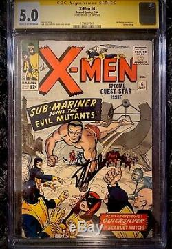Marvel X-men #6 Cgc Ss 5.0 Signed By Stan Lee Key Issue Sub-mariner Appearance