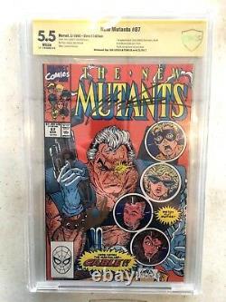 New Mutants #87 1st Cable 5.5 Signed x2 Stan Lee Rob Liefeld Deadpool 2 CBCScgc