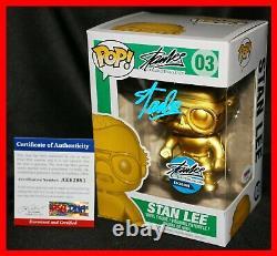 RARE Stan Lee Gold #03 Signed Collectibles. Com Exclusive Funko Pop PSA JSA