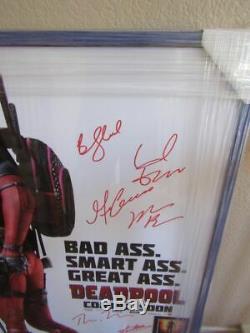 Rare Full Size Framed Movie Poster-deadpool -stan Lee -ryan Reynolds Cast Signed