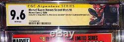 SECRET WARS 8 CGC 9.6 SIGNED 4X STAN LEE Now With New Spider Man Label