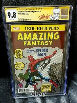 SIGNED STAN LEE CGC 9.8 TRUE BELIEVERS AMAZING FANTASY 1 Spider-man Reprint 15
