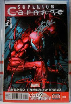 SIGNED! SUPERIOR CARNAGE #1 STAN LEE + CLAYTON CRAIN marvel spiderman venom