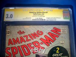 STAN LEE Signed 1963 Amazing SPIDER-MAN #1 SS Marvel Comics CGC Graded 3.0 GD/VG