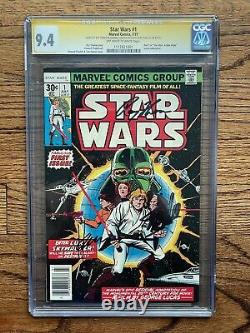 STAR WARS #1 CGC 9.4 OW-W PAGES NEWSTAND 3x signed Stan Lee, Thomas, Chaykin