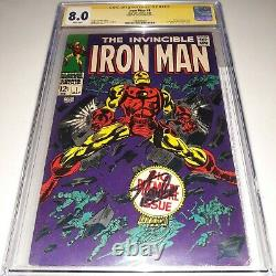 Signed IRON MAN #1 (1968) CGC SS 8.0 by STAN LEE White Pages