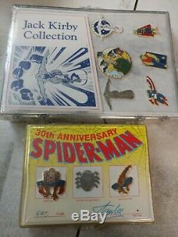 Signed Stan Lee Pin Set, Jack Kirby Pin Set, John Romita Spider-Man Avengers