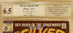 Silver Surfer#4 1st Thor Vs Surfer PGX (Not CGC) SS 6.5 Signed By Stan Lee