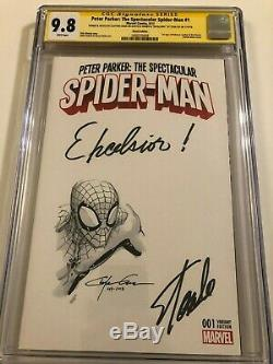 Spider-Man #1 CGC 9.8 with Clayton Craine Sketch and Excelsior signed Stan Lee