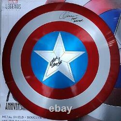 Stan Lee Chris Evans Signed Marvel 75th Captain America Metal Shield Beckett COA
