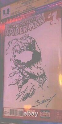 Stan Lee Signed & Sketch Cgc 9.8 Amazing Spider-Man #1 Stan Lee & Mark Bagley