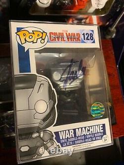 Stan Lee Signed War Machine Civil War Funko Pop #128 with COA Marvel Comics Rare